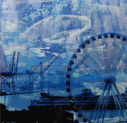Artist: Brooke Westlund, Title: Seattle Blues Great Wheel and Ferry  -To Be Ordered - click for larger image
