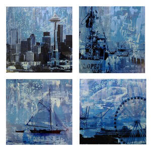 Artist: Brooke Westlund, Title: Seattle Blues Suite - BWBlue4 (set of 4) To Be Ordered Only - click for larger image