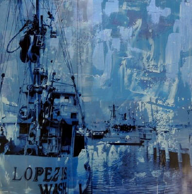 Artist: Brooke Westlund, Title: Seattle Blues -Fishing Boats on Lopez Island -To Be Ordered - click for larger image