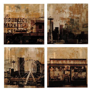 Artist: Brooke Westlund, Title: Seattle Gold Suite - BWGold4 (set of 4) To Be Ordered Only - click for larger image