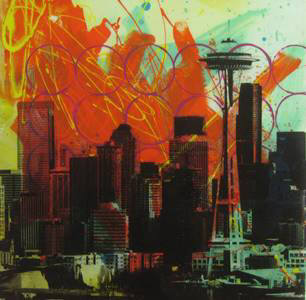 Artist: Brooke Westlund, Title: Seattle Skyline - BW35-2020 - click for larger image