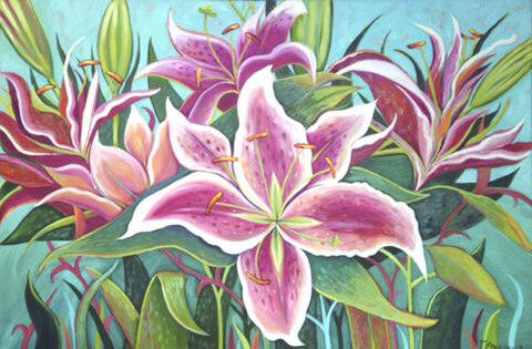 Artist: Debbie Tomassi, Title: Jungle Lily - click for larger image