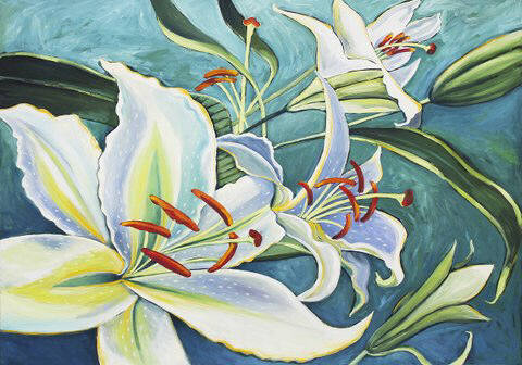 Artist: Debbie Tomassi, Title: White Lily on Blue - click for larger image