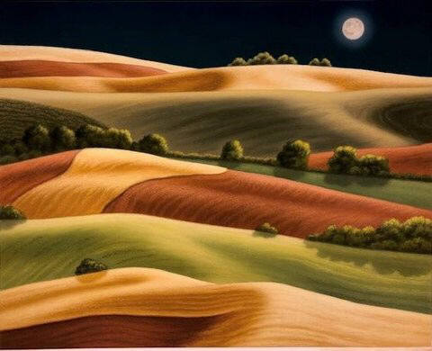 Artist: Doug Martindale, Title: Nightfall on the Palouse - click for larger image