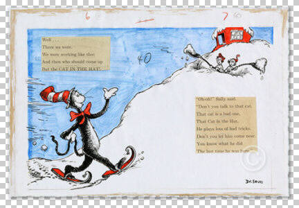 Artist: Dr. Seuss  , Title: And then who should come up but the CAT IN THE HAT! - click for larger image