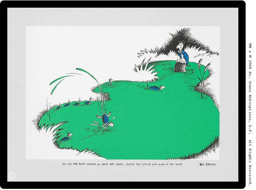 Artist: Dr. Seuss  , Title: On the Far Away Island of Salamasond, Yertle the Turtle was King of the Pond - click for larger image