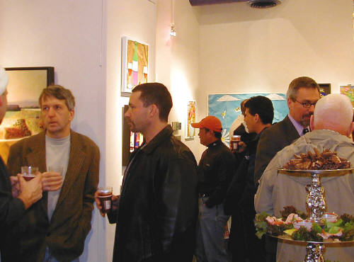 Artist: Gallery Event Photos, Title: Bill Braun enjoys a brief conversation - click for larger image