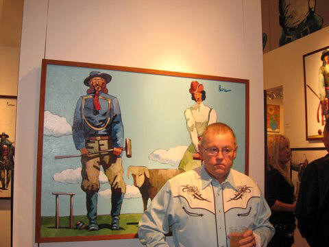 Artist: Gallery Event Photos, Title: Collector Ted Cox dressing the part for a game of Croquet with Custer and wife Libbie - click for larger image