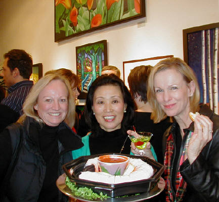 Artist: Gallery Event Photos, Title: Darcy, Masami and Susan...yummy shrimp! - click for larger image