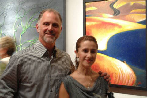 Artist: Gallery Event Photos, Title: Gallery Artist Dan Larsen and Pilar - click for larger image