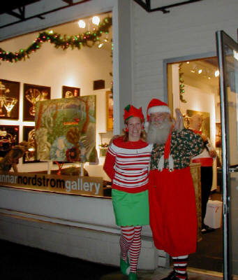 Artist: Gallery Event Photos, Title: Gallery Elf Libby and Santa  - click for larger image