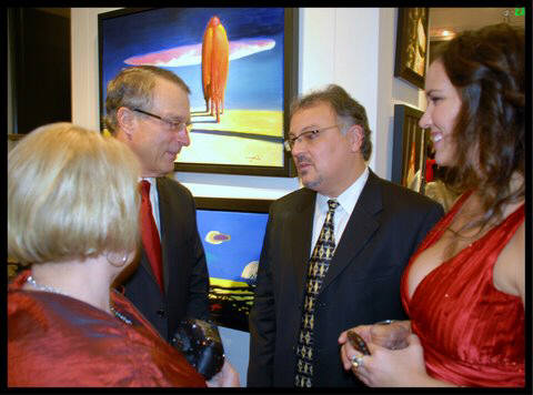 Artist: Gallery Event Photos, Title: Kemper Freeman of Bellevue Square shares some valuable insight with new tennant GNG - click for larger image