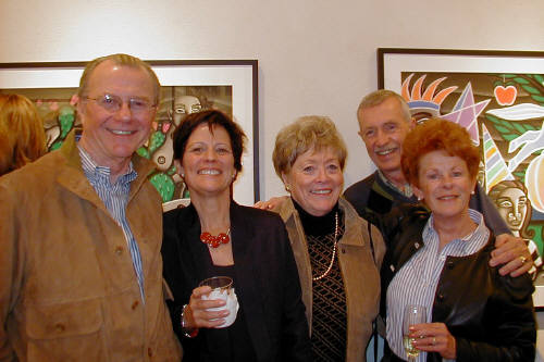 Artist: Gallery Event Photos, Title: Lynda Anderson (in dark) Among new collectors - click for larger image