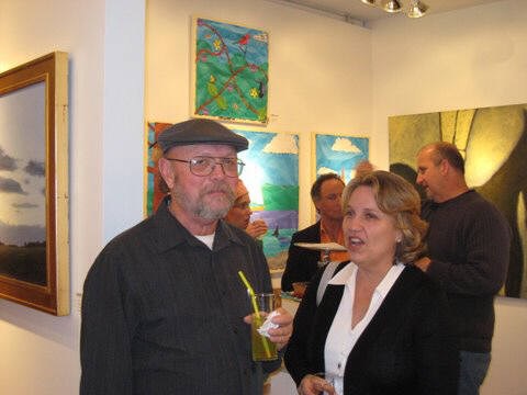Artist: Gallery Event Photos, Title: Photo Realist painter, Ray Pelley and patron Wendy - click for larger image