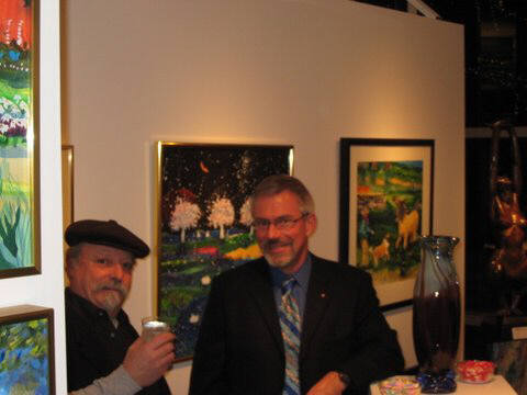Artist: Gallery Event Photos, Title: Ross collector, Steve and artist Thom Ross - click for larger image