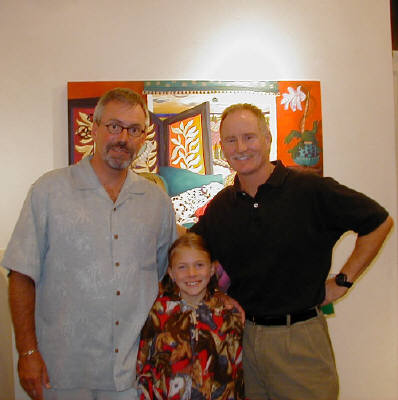 Artist: Gallery Event Photos, Title: Sept 2005-Rachel Lingenbrink takes a break from viewing art to pose with her dad and buddy Doug - click for larger image