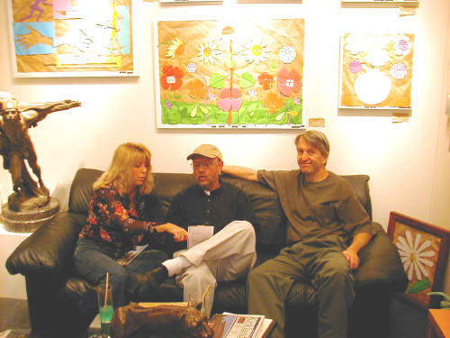 Artist: Gallery Event Photos, Title: Sept 2005- Artists always find each other...Susie Webster visits with Gallery artists, Ray Pelley and Bill Braun - click for larger image