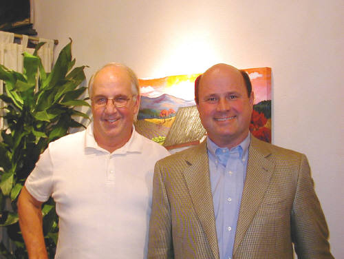 Artist: Gallery Event Photos, Title: Sept 2005- The Gemologist, Tom Harrelson and Attorney Scott Bowen  - click for larger image
