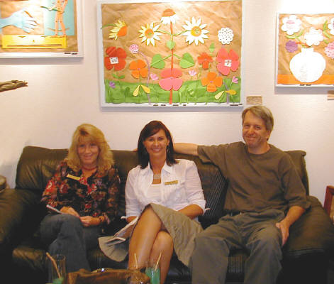 Artist: Gallery Event Photos, Title: Sept 2005- What happened to Ray Pelley...Holly Ballard Martz sits in with the co-exhibitor Susie Webster and Bill Braun - click for larger image