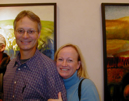 Artist: Gallery Event Photos, Title: Still happy after all these years, gallery patrons Carl and Darcy enjoying Liang Wei's show - click for larger image