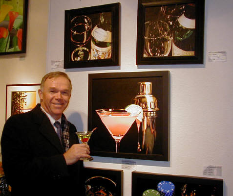 Artist: Gallery Event Photos, Title: Yes Ron, Ray Pelley does paint a Green Appletini also... - click for larger image