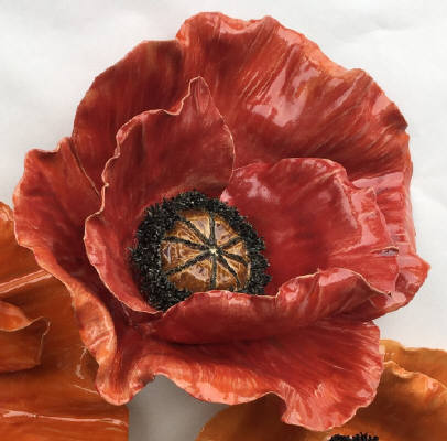 Artist: Gina Holt, Title: Medium Outdoor Oriental Poppy - Red (with stand and rock base) - click for larger image