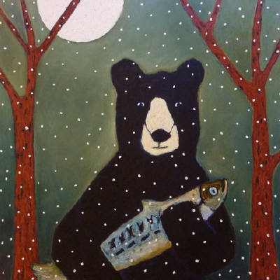 Artist: Jaime Ellsworth, Title: Bear, Fish and Moon - click for larger image