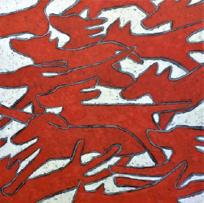 Artist: Jaime Ellsworth, Title: Red Dogs Running - click for larger image