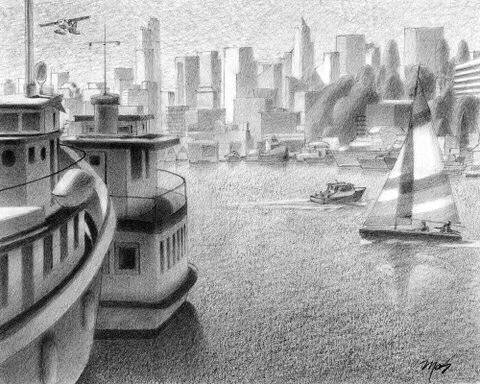 Artist: Mark Skullerud, Title: Downtown from Northlake - Graphite Study - click for larger image