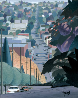 Artist: Mark Skullerud, Title: Fremont from 4th Ave. North I - Color Study - click for larger image