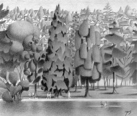 Artist: Mark Skullerud, Title: Greenlake - Graphite Study - click for larger image