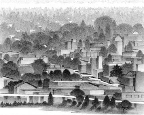 Artist: Mark Skullerud, Title: Interbay - Graphite Study - click for larger image
