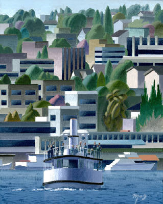 Artist: Mark Skullerud, Title: Lake Union II 1 - Color Study - click for larger image