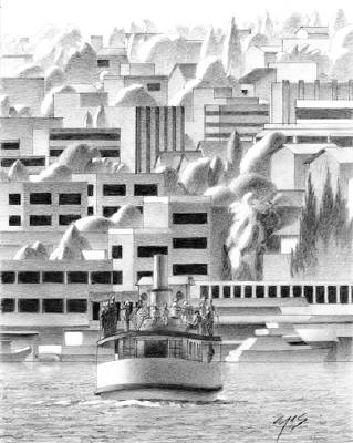 Artist: Mark Skullerud, Title: Lake Union II - Graphite Study - click for larger image