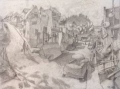 Artist: Mark Skullerud, Title: Front and Main - Graphite Study - click for larger image