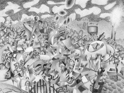 Artist: Mark Skullerud, Title: Our Town - Graphite Study - click for larger image