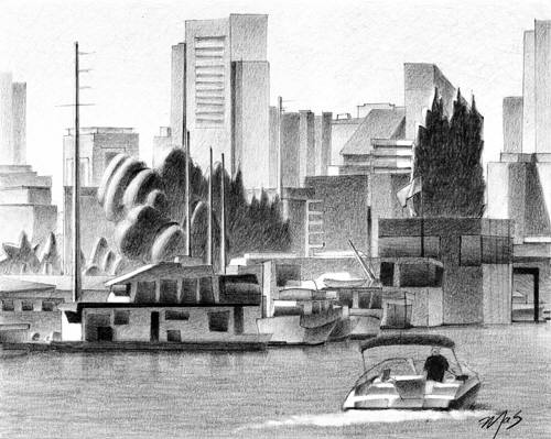 Artist: Mark Skullerud, Title: South Lake Union - Graphite Study - click for larger image