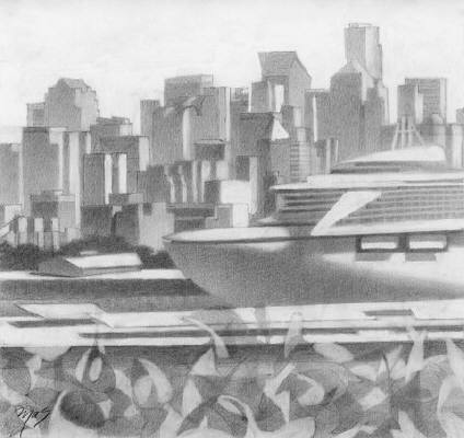 Artist: Mark Skullerud, Title: Terminal 91, Smith Cove - Graphite Study - click for larger image