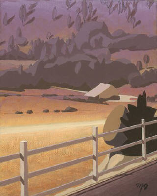 Artist: Mark Skullerud, Title: Valley Farm - Color Study - click for larger image