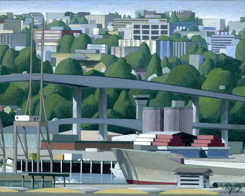 Artist: Mark Skullerud, Title: West Seattle & Spokane St Bridges I - Color Study - click for larger image