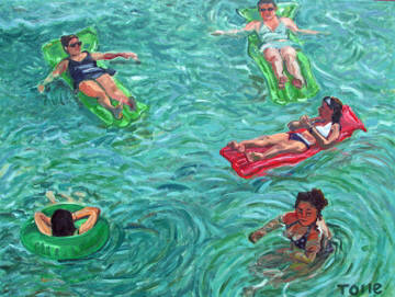 Artist: Pat Tolle, Title: Five Beauties Floating - click for larger image