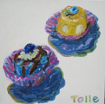 Artist: Pat Tolle, Title: Two Zinzanni Cakes - click for larger image