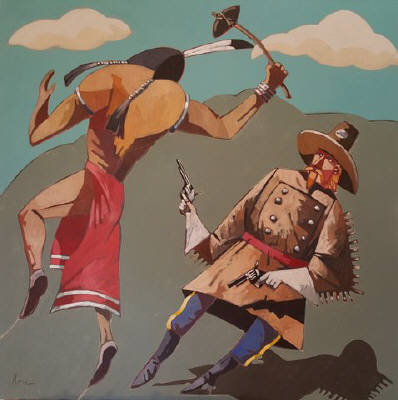 Artist: Thom Ross, Title: Custer and Warrior - click for larger image