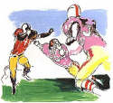 LeRoy Neiman - Scampering Back (The Football Suite III) 1995